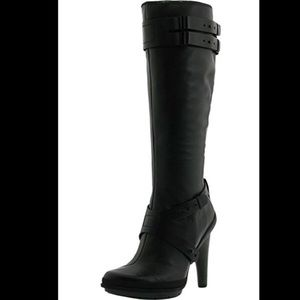 Tsubo Lydda Knee High Black Leather Boots Size 9.5